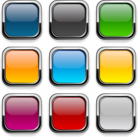 black metallic background: Set of blank colorful square buttons for website or app.