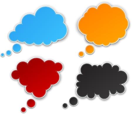 3d illustration: Vector illustration of color paper clouds.  Illustration