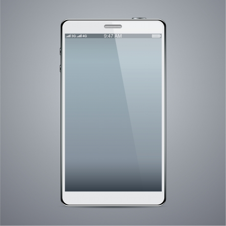 Vector illustration of white modern realistic smartphone with empty black screen.   Stock Vector - 19743678