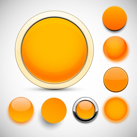 Set of blank orange round buttons for website or app.