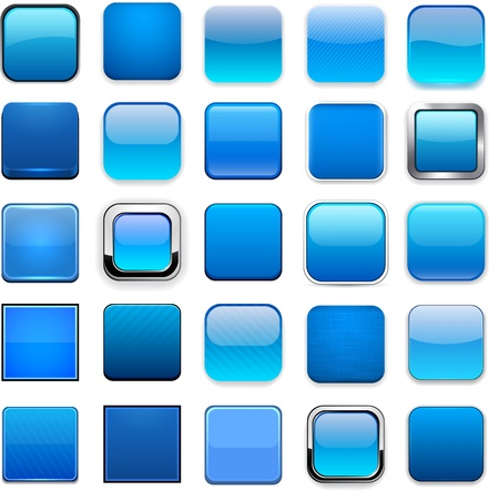 square: Set of blank blue square buttons for website or app.  Illustration