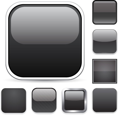 square buttons: Set of blank black square buttons for website or app.