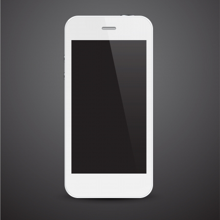 illustration of white modern realistic smartphone with empty black screen. Stock Vector - 19896765