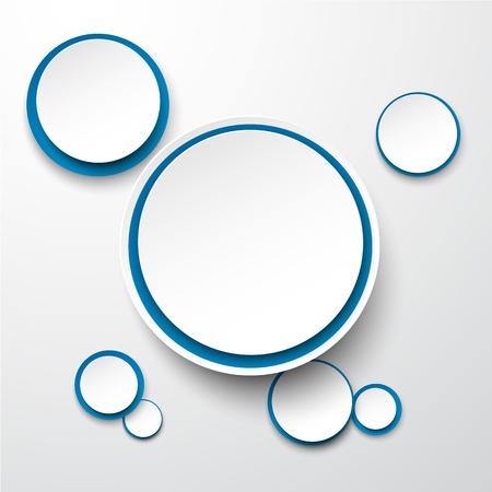 illustration de papier blanc et rond bleu bulle.