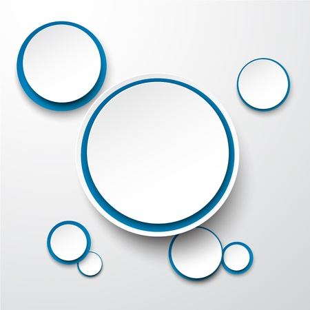 illustration of white and blue paper round speech bubble.