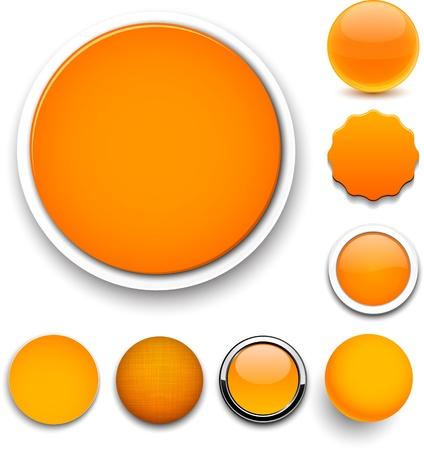 sign orange: Set of blank orange round buttons for website or app.