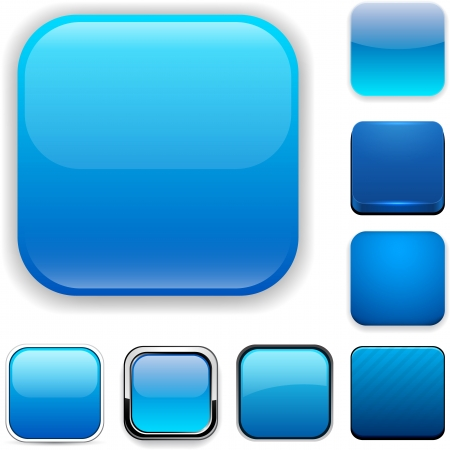 blue buttons: Set of blank blue square buttons for website or app.  Illustration