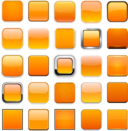 square buttons: Set of blank orange square buttons for website or app.
