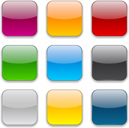 apps icon: Set of blank colorful square buttons for website or app.