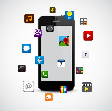 communicator: concept communicator with app icons.