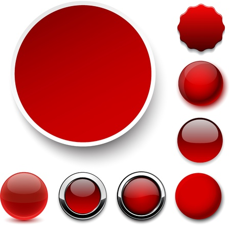 3d circle: Set of blank red round buttons for website or app.