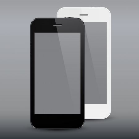 illustration of black and white modern realistic smartphone with empty screen. Stock Vector - 19897086