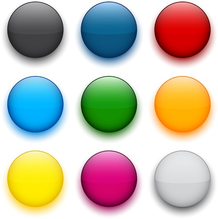 3d circle: Set of blank colorful round buttons for website or app.