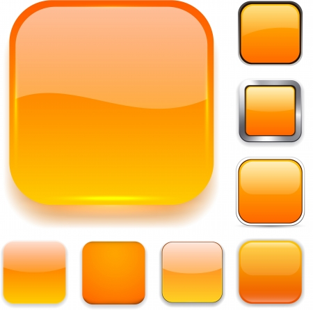 app icon: Set of blank orange square buttons for website or app.   Illustration