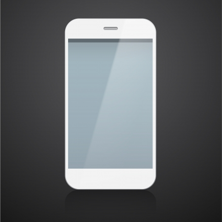 Vector illustration of white modern realistic smartphone with empty black screen. Stock Vector - 20140704