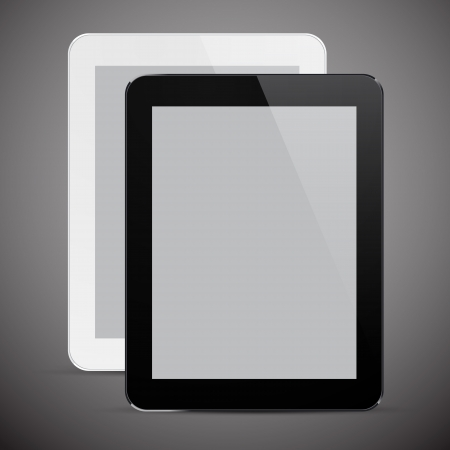 Vector illustration of black and white modern realistic tablet pad with empty screen.  Stock Vector - 20134867