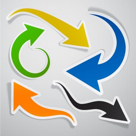 flechas: Ilustraci�n vectorial de la colecci�n pegajosa de flechas de papel de colores. Eps10. Vectores