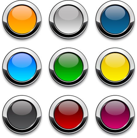 icon buttons: Set of blank colorful round buttons for website or app.
