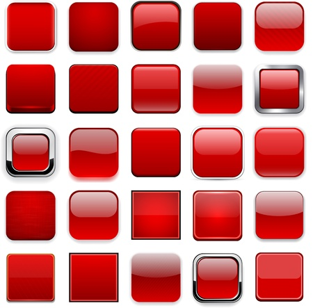 chrome button: Set of blank red square buttons for website or app.