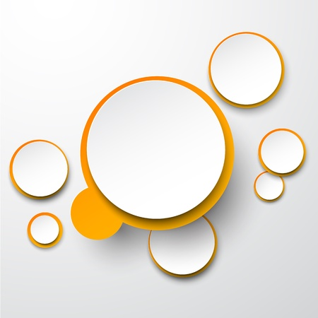 illustration of white and orange paper round speech bubble.  Vector