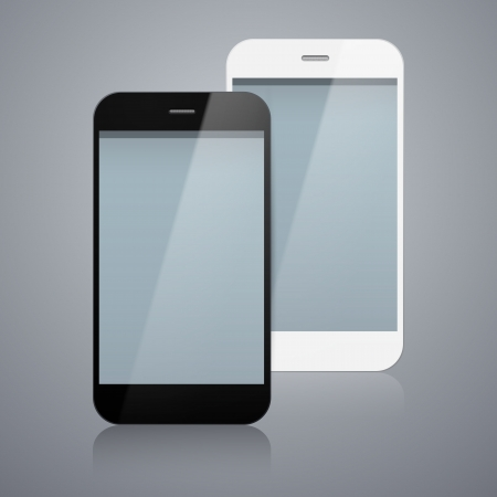 illustration of black and white modern realistic smartphone with empty screen. Stock Vector - 20625934