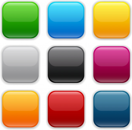 Buttons: Set of blank colorful square buttons for website or app.