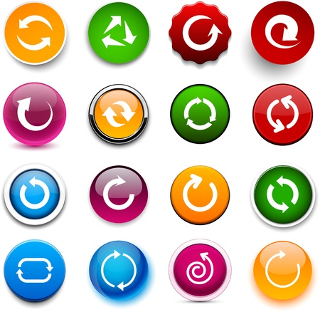 Set of arrow color round buttons for website or app.  Vector
