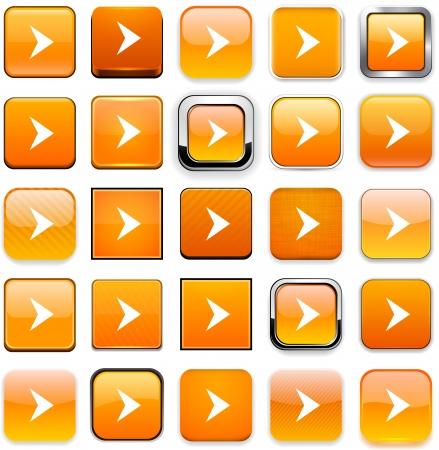 Set of arrow orange buttons for website or app.  Vector