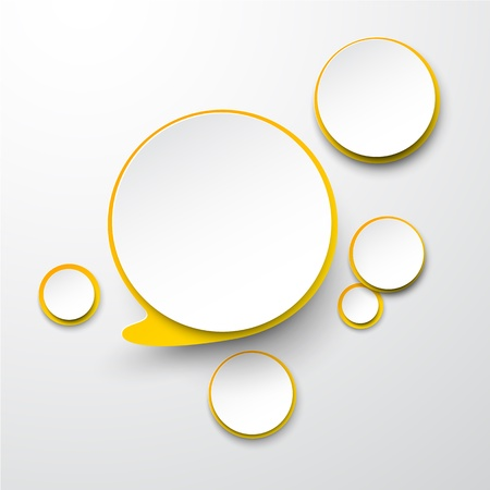 illustration of white and yellow paper round speech bubble.   Vector