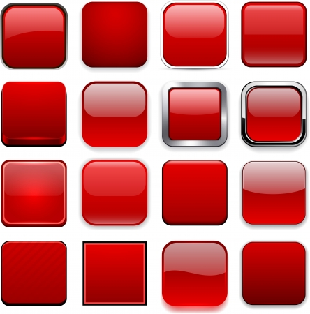 Set of blank red square buttons for website or app.
