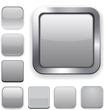 square buttons: Set of blank grey square buttons for website or app.