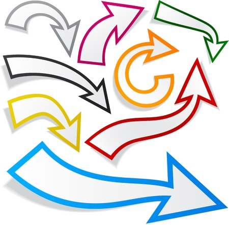 illustration of sticky collection of colorful paper arrows.