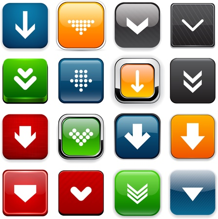 Set of download square color buttons for website or app.  Vector
