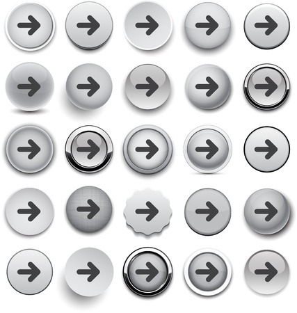 Set of arrow grey round buttons for website or app.   Vector
