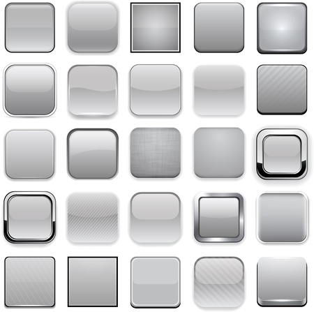 metallic button: Set of blank grey square buttons for website or app.