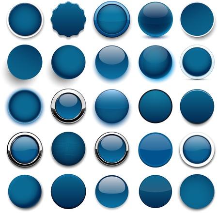 ウェブサイトまたはアプリケーションの空白暗い青い丸いボタンのセットです。  イラスト・ベクター素材