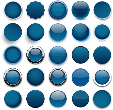 website buttons: Set of blank dark blue round buttons for website or app.  Illustration