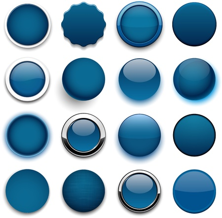 Set of blank dark blue round buttons for website or app.  Illustration