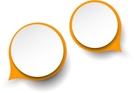 abstract illustration of white and orange paper round speech bubbles.  Vector