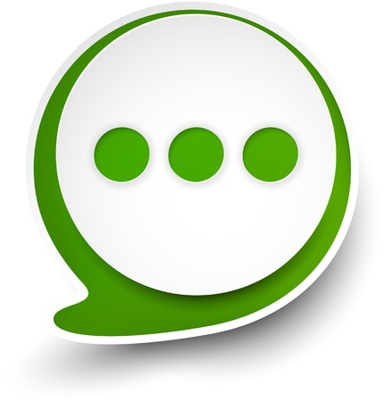 illustration of white and green paper round speech bubble.  Illustration