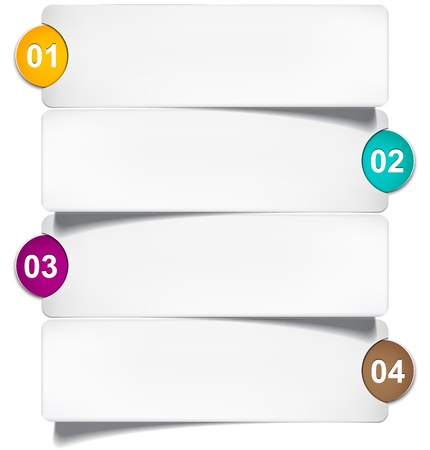 four pattern: illustration of numeric paper infographics template design.