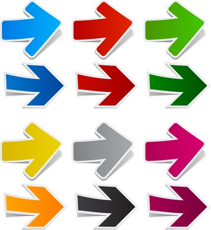 illustration of sticky collection of paper arrows.