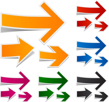 Vector illustration of sticky collection of paper arrows.