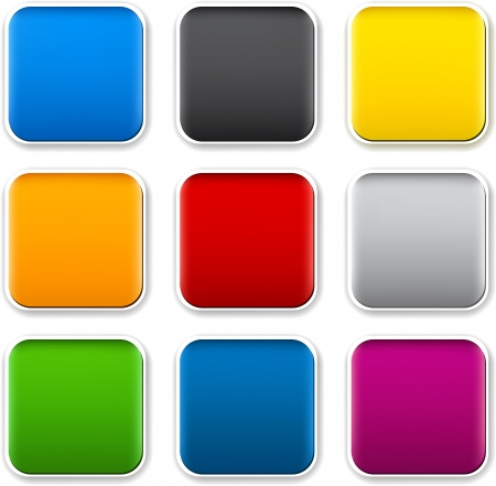 square buttons: Set of blank colorful square buttons for website or app
