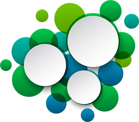 illustration of white paper round speech bubbles over green background Vector