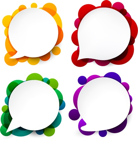 illustration of white paper round speech bubbles over colorful background Vector