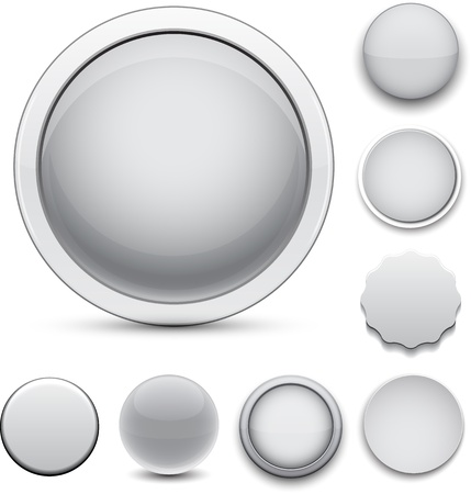 Set of blank grey round buttons for website or app Illustration