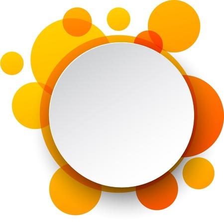 오렌지 배경 위에 흰 종이 라운드 연설 거품의 그림 일러스트