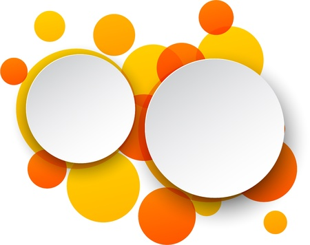 Vector illustration of white paper round speech bubbles over orange background.   Vector