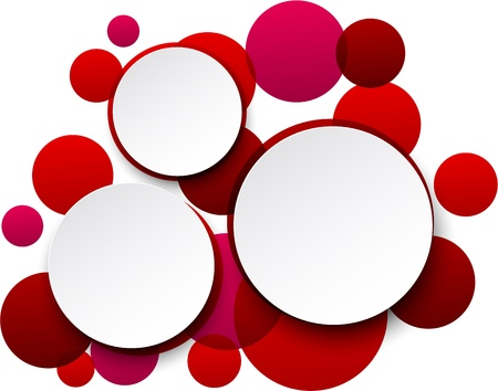 Vector illustration of white paper round speech bubbles over red background.  Vector